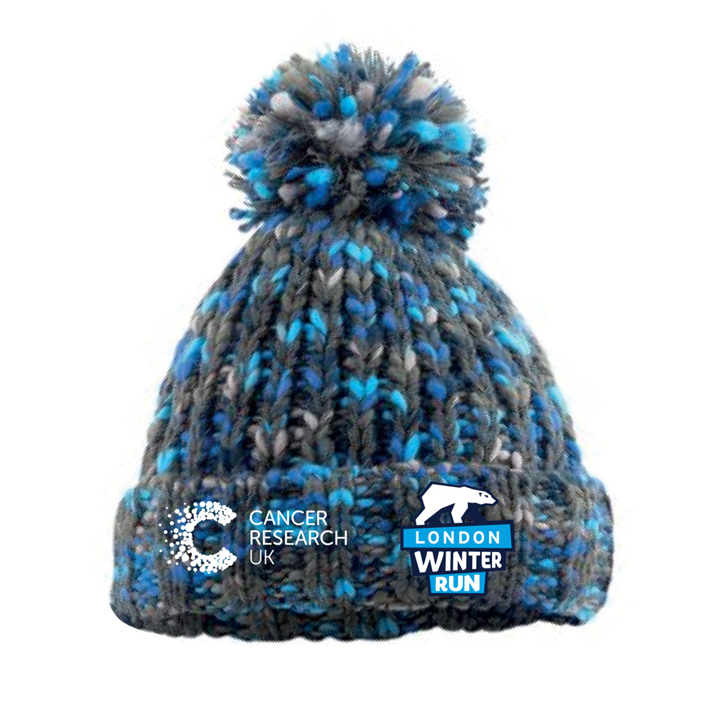 fb3aa337eaf5d8 2019 Cancer Research UK London Winter Run Bobble Hat Blue | Official ...
