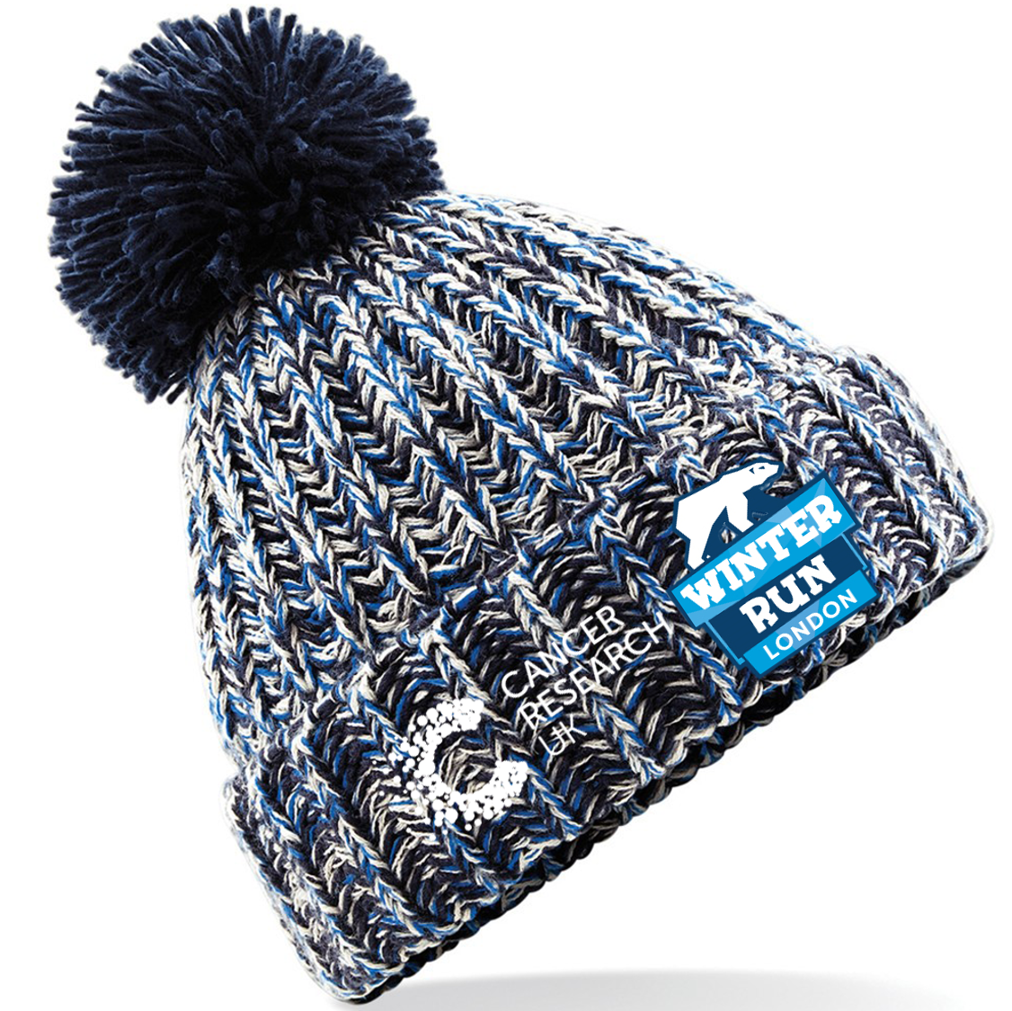653c5b0cd8dd0a 2019 Cancer Research UK London Winter Run Bobble Hat Grey | Official ...