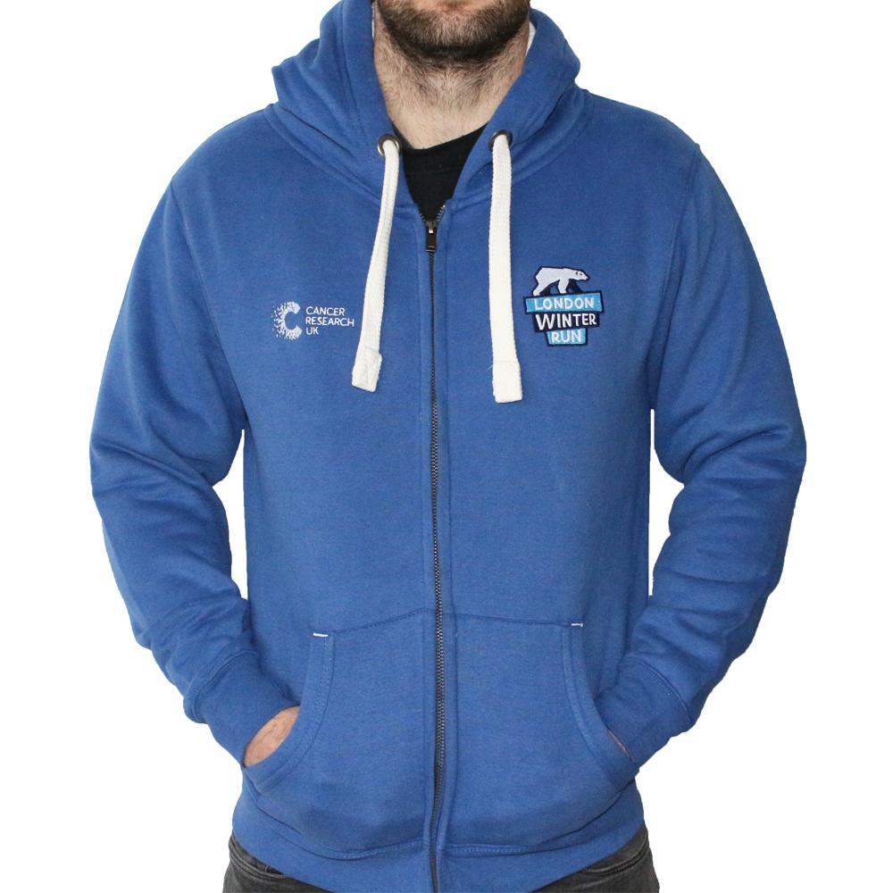 6fffe9afb041d4 2019 Cancer Research UK London Winter Run Zipped Blue Hoody ...